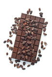 Chocolate and cocoa beans Stock Photography