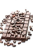 Chocolate and cocoa beans Royalty Free Stock Photos