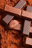 Chocolate with cocoa beans Royalty Free Stock Image
