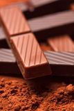 Chocolate with cocoa beans Royalty Free Stock Photos