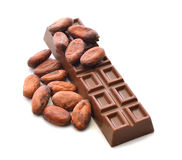 Chocolate and cocoa beans Royalty Free Stock Images