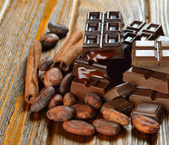 Chocolate and cocoa beans Royalty Free Stock Photo
