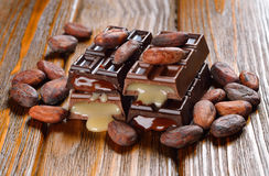 Chocolate and cocoa beans Royalty Free Stock Photography