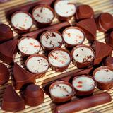 Chocolate with cocoa beans chocolate Royalty Free Stock Images