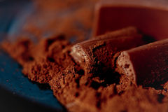 Chocolate with cocoa beans chocolate Royalty Free Stock Image