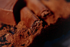 Chocolate with cocoa beans chocolate Stock Photo
