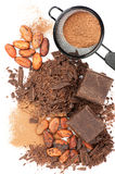 Chocolate, cocoa beans and cocoa powder Stock Image
