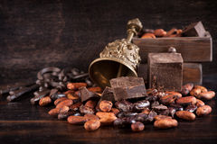 Chocolate and cocoa beans Stock Image