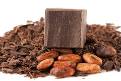 Chocolate and cocoa beans over White Royalty Free Stock Image
