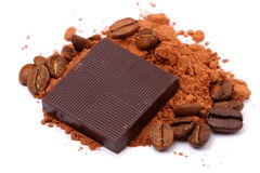 Chocolate, cocoa and coffee beans Royalty Free Stock Image