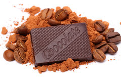 Chocolate, cocoa and coffee on a white Stock Photo