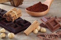 Chocolate cocoa end cinnamon Stock Photography