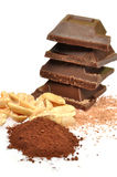 Chocolate, cocoa and hazelnuts Royalty Free Stock Photography