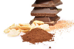 Chocolate, cocoa and hazelnuts Royalty Free Stock Photo