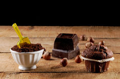 Chocolate, cocoa and muffins Stock Photo
