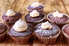 Chocolate cocoa muffins with meringue on the top Stock Image