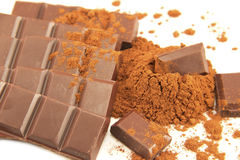 Chocolate and the cocoa powder Royalty Free Stock Photography