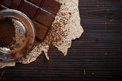 Chocolate with cocoa powder Royalty Free Stock Photo