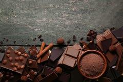 Chocolate with cocoa powder stock photos