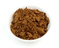Chocolate cocoa powder closeup macro on white Stock Photo