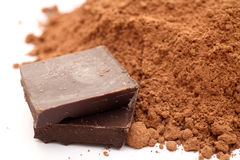 Chocolate and cocoa powder Royalty Free Stock Photography