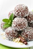 Chocolate coconut balls Royalty Free Stock Image