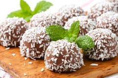 Chocolate coconut balls Stock Photo