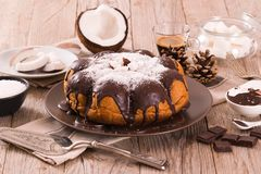 Chocolate coconut cake. Chocolate coconut cake with icing sugar stock image