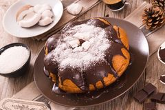 Chocolate coconut cake. Chocolate coconut cake with icing sugar royalty free stock photography