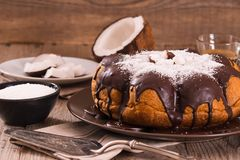 Chocolate coconut cake. Chocolate coconut cake with icing sugar stock photos