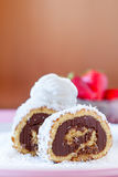 Chocolate Coconut Cake  Roll With Whipped Cream Stock Photo