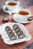 Chocolate coconut candy. Selective focus Stock Images