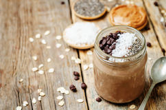 Chocolate Coconut Chia seeds overnight oats Stock Photos
