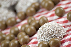 Chocolate and coconut covered marshmallow Royalty Free Stock Photography