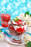 Chocolate and coconut dessert with strawberries Stock Image