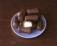 Chocolate coconut. Homemade chocolate coconut on blue plate royalty free stock photography