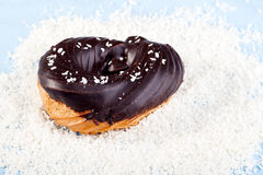 Chocolate coconut raised donut Stock Photos