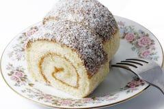 Chocolate coconut roll cake Stock Photo