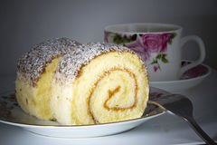 Chocolate coconut roll cake  Stock Images