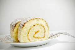 Chocolate coconut roll cake  Stock Photo