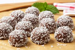 Chocolate coconut snowball cookies Stock Photo