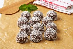 Chocolate coconut snowball cookies Royalty Free Stock Image