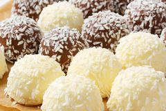 Chocolate coconut snowballs Royalty Free Stock Images