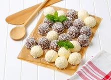 Chocolate coconut snowballs Stock Photo