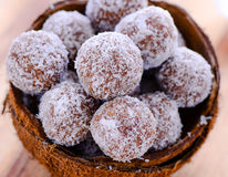 Chocolate coconut truffles royalty free stock photography