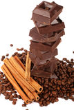 Chocolate,coffe beans and cinnamon Royalty Free Stock Photos