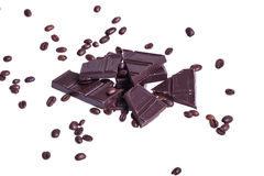 Chocolate with coffe beans Royalty Free Stock Image