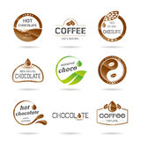 Chocolate, coffe and caramel icon design - sticker. Associated with each type of chocolate and coffee Royalty Free Stock Photo