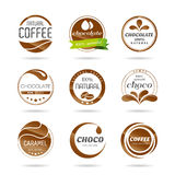 Chocolate, coffe and caramel icon design - sticker. Associated with each type of chocolate and coffee Stock Photo