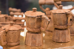 Chocolate coffee. Art Product coffeemakers with dark chocolate Stock Image